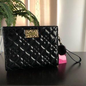 Betsey Johnson Black Quilted heart Wristlet Bag